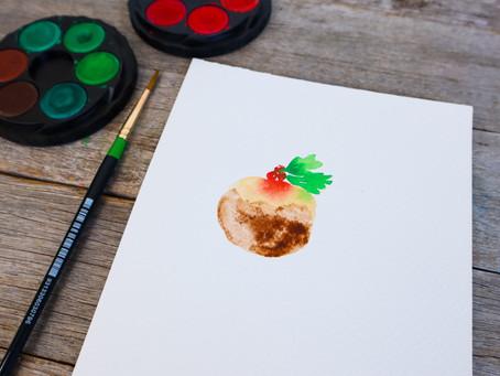 Easy Watercolour Christmas Pudding Tutorial