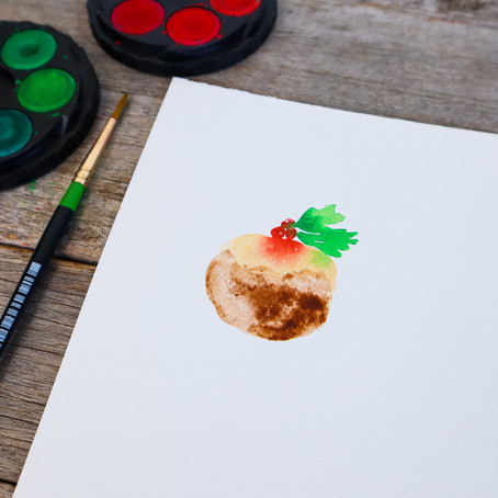 Easy Watercolour Christmas Pudding Tutorial