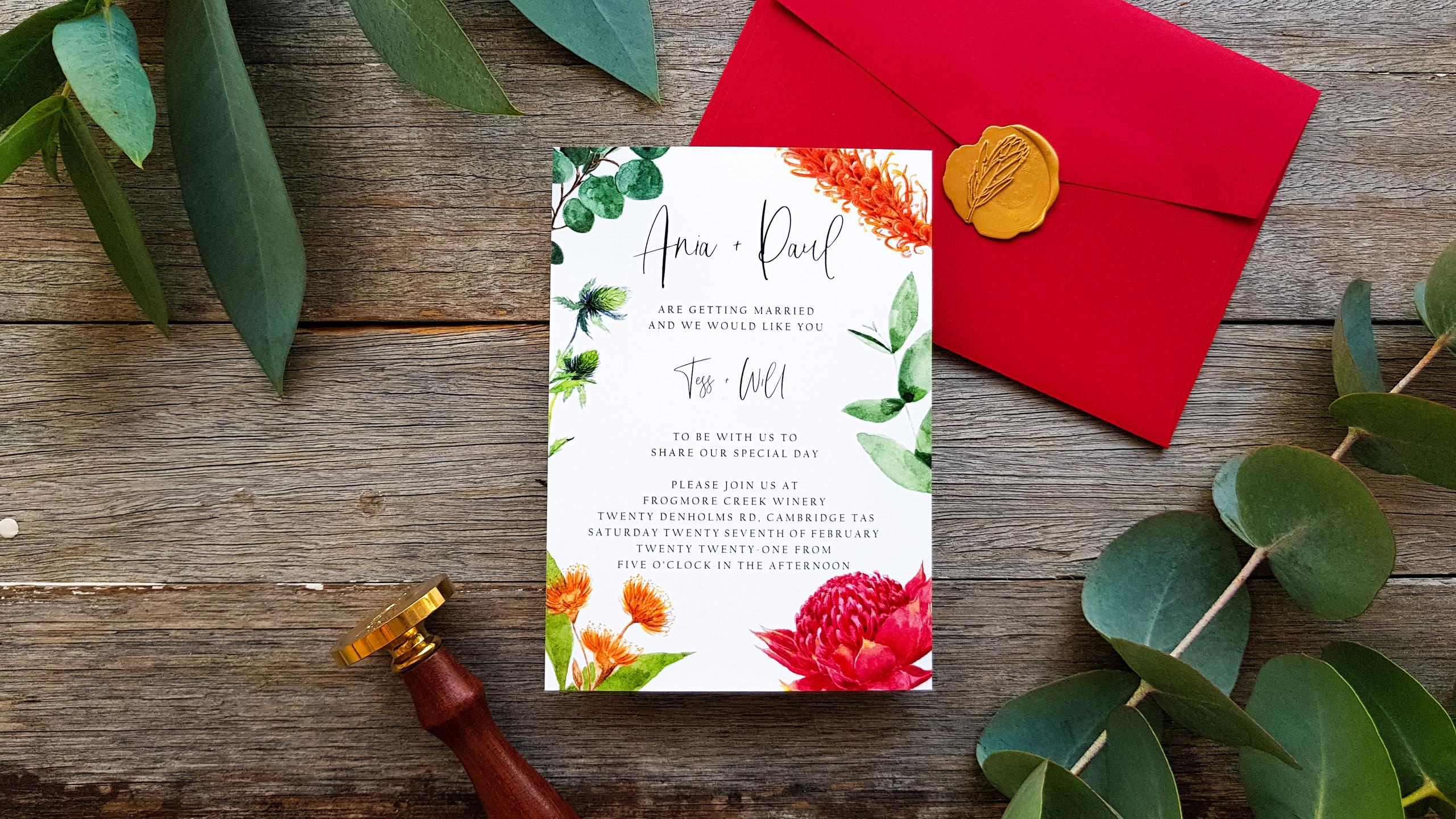 Tasmanian Wedding Invitation featuring custom watercolour artwork with Australian Flora