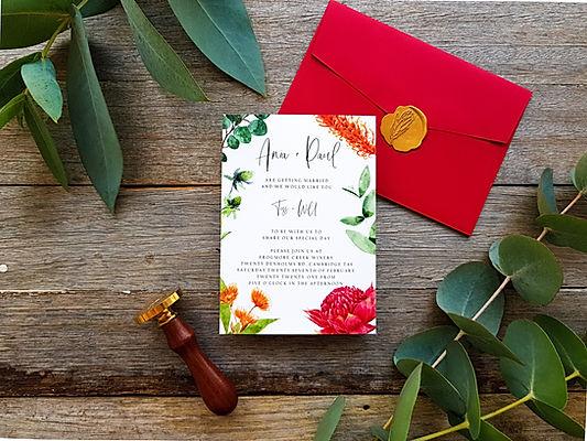 Custom Wedding Stationery Australia Featuring Australian Flora