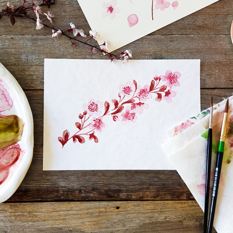 Watercolour for Beginners: how to paint watercolour Cherry Blossoms