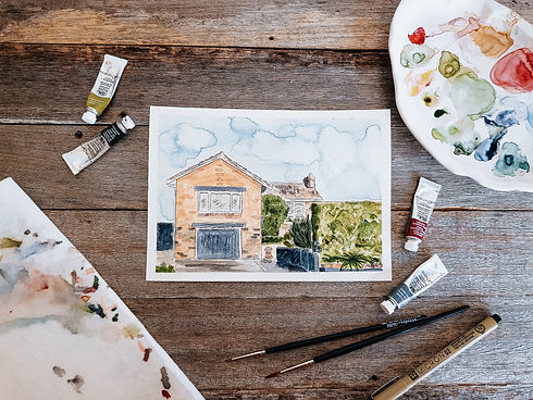 Watercolour House Portrait by Ruby Tuesd
