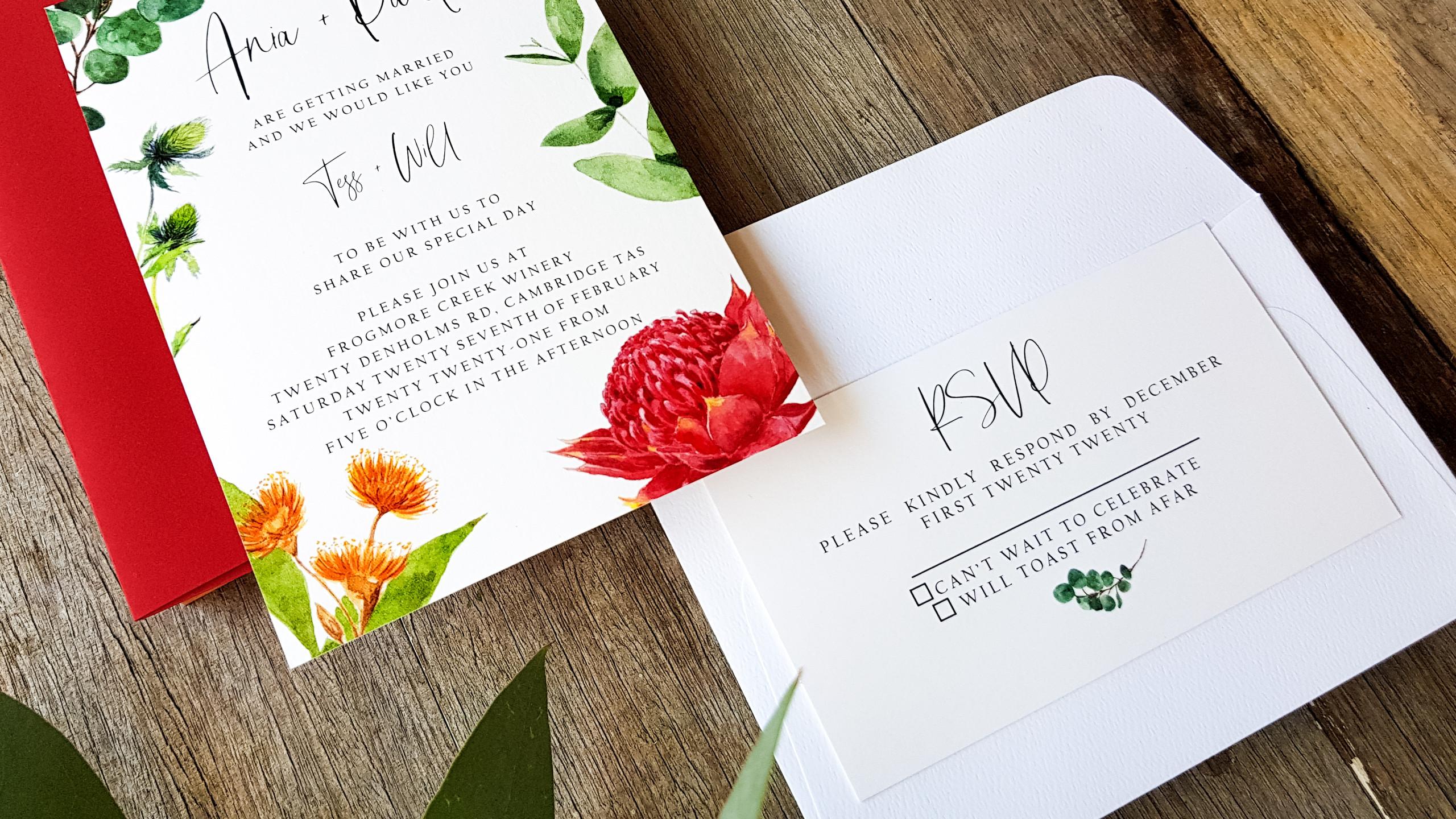 Watercolour Wedding Invitation featuring Australian and Tasmanian Flora