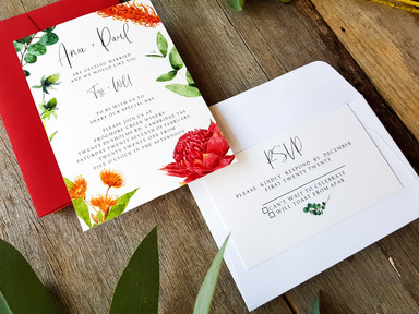 Custom Watercolour Wedding Invitations by Ruby Tuesday Art