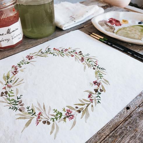 Watercolour Australian Floral Wreaths - Evandale