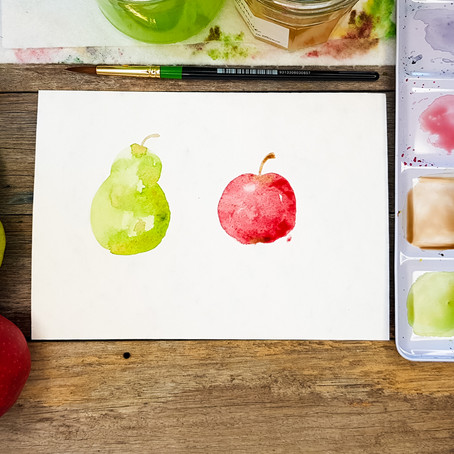 Watercolour for Beginners: apple and pear tutorial