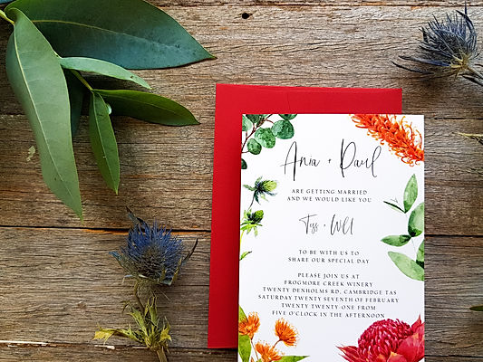 Watercolour Wedding Invitations Australia Tasmania