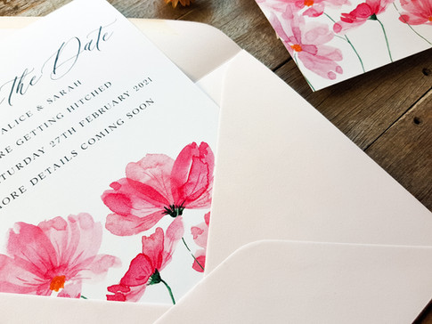 Custom watercolour wedding invitation created by Ruby Tuesday Art