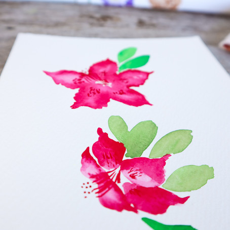 Watercolour Rhododendrons Tutorial