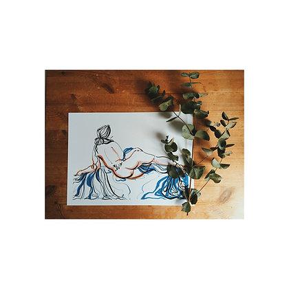 ivy with blue silk print