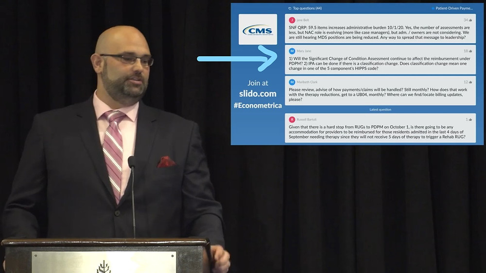 MDS/RAI Advisor's Mary Jane Kochoa was lucky to have her PDPM questions answered by CMS' John Kane in August 14, 2019 video at approximately 1:11:45