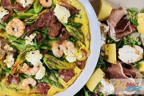 Egg frittata with asparagus prosciutto a