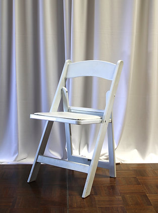 White Folding Chair with Padded Seat