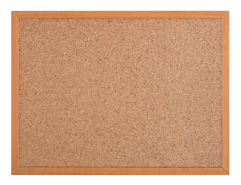Blank cork board with a wooden frame iso