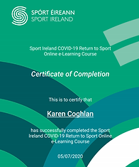 Sport Ireland COVID-19 completion certif