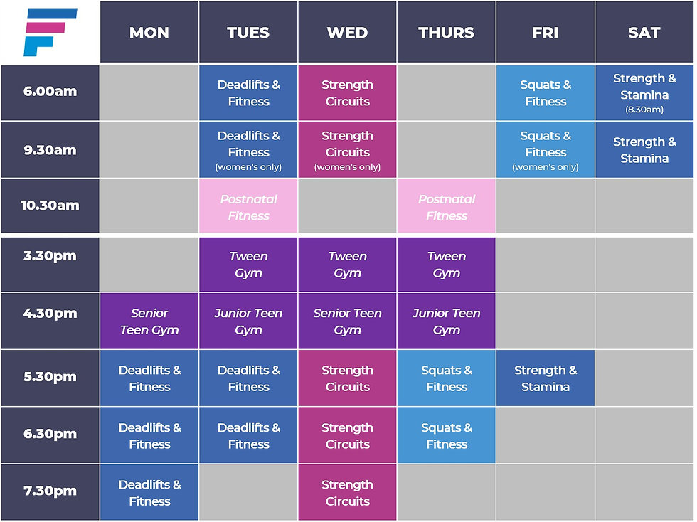 freedom fitness timetable