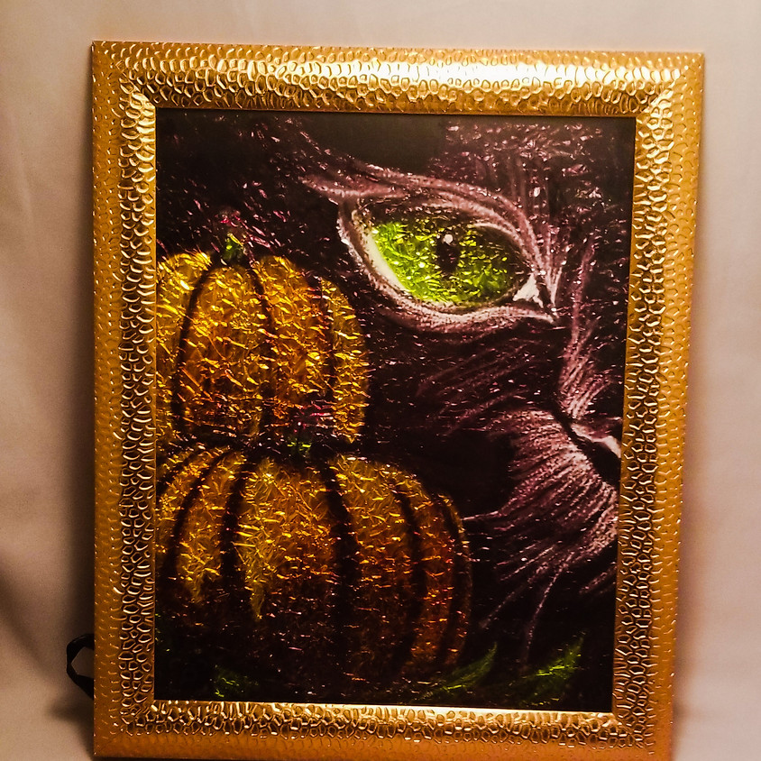 NEW - Lurking Cat - Alcohol Ink
