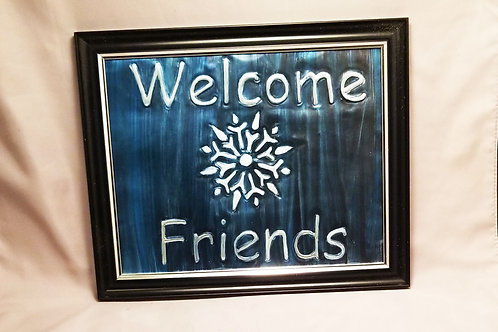 Embossed Metal - Welcome w/ Snowflake