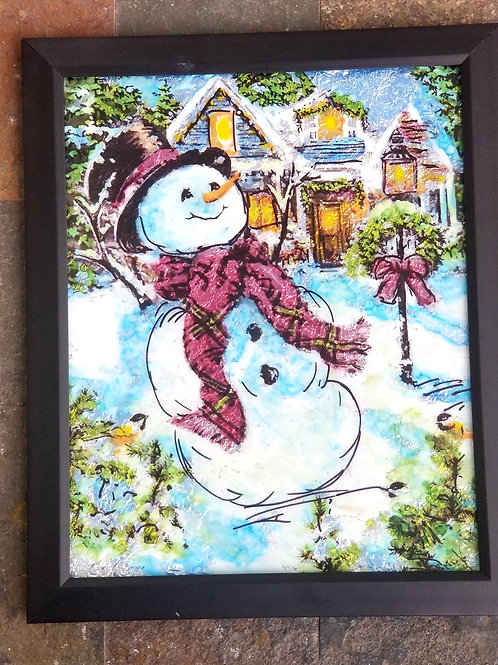 Alcohol Ink - Snowman Scene