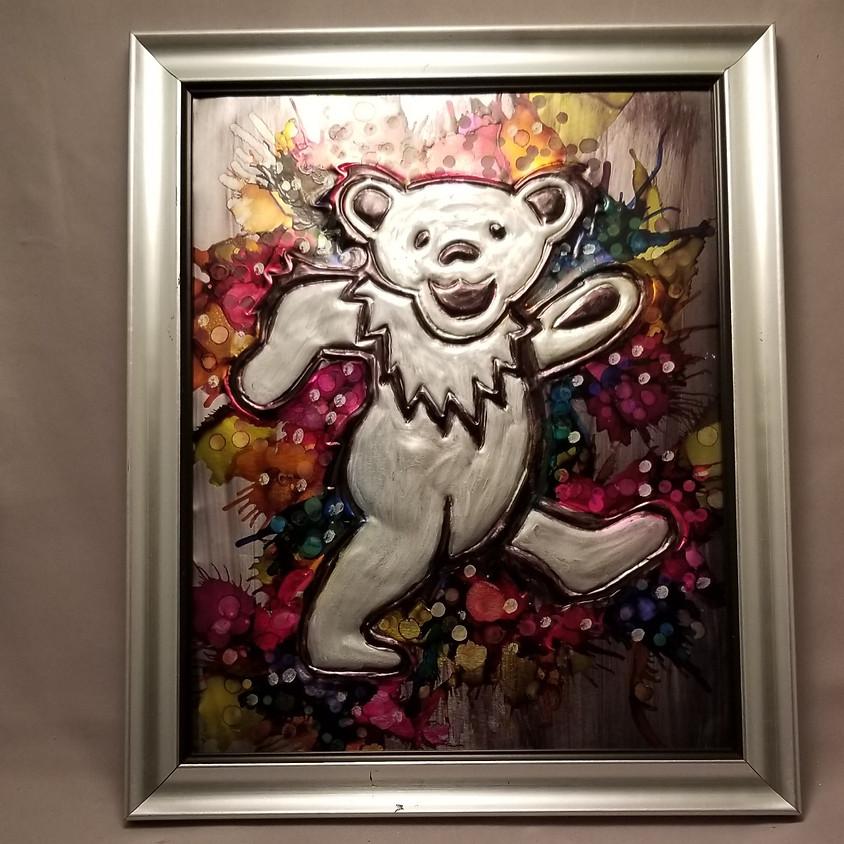 Grateful Dead Dancing Bear - Embossed Metal