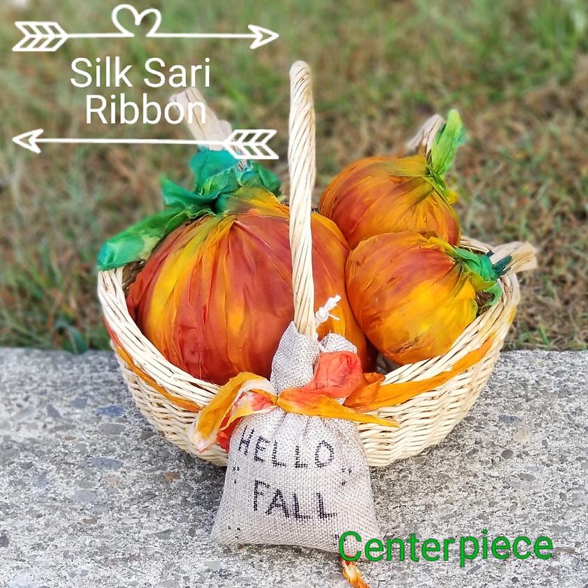 Silk Sari Ribbon Pumpkin Basket