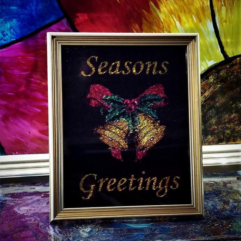 Seasons Greetings - Alcohol Ink Framed Art