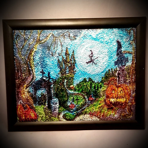Alcohol Ink - Witch Scene