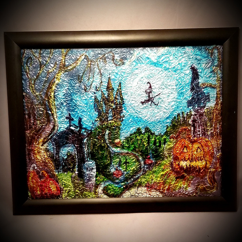 Halloween Witch - Alcohol Ink Framed Art *SOLD OUT*
