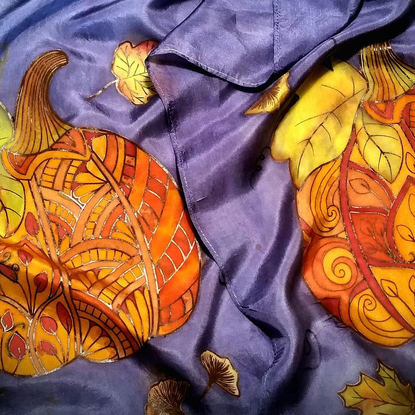 Silk Scarf -  Zen Tangled Pumpkin