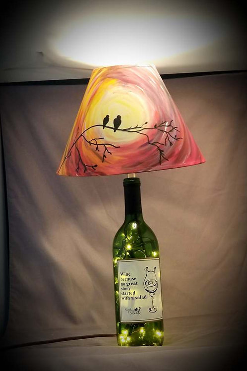 Wine Bottle Lamp - Love BIrds