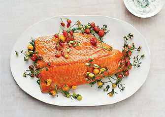Salmon Slow Roasted with Cherry Tomatoes and Couscous