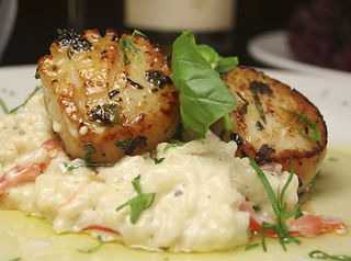 Smoked Scallops with Bacon Risotto