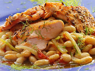 Salmon - Fennel Crusted on White Beans