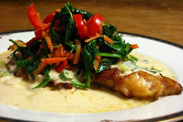 Red Snapper with Coconut Spinach