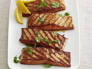 Salmon with Soy Honey and Wasabi Sauces