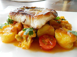 True Cod Pan Fried with Curried Potatoes and Cauliflower