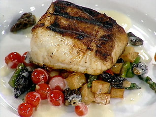Escolar Grilled with a Sauteed Asparagus