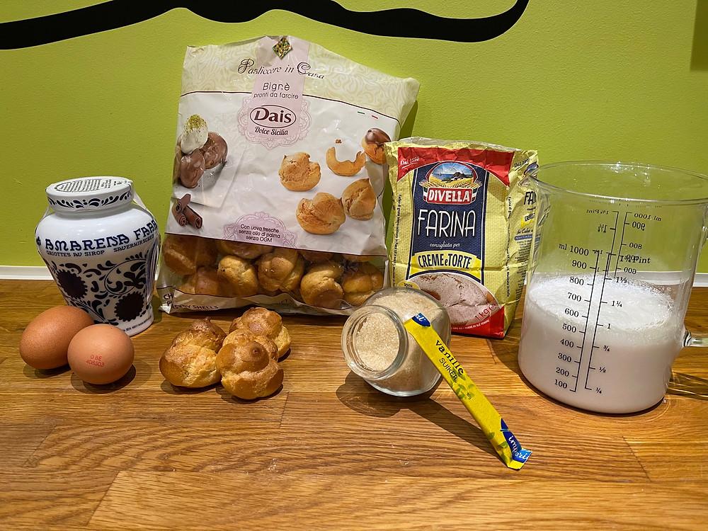 Amarena, chou (Bignè), farine crème et gâteau, lait, sucre, sucre vanille, oeufs