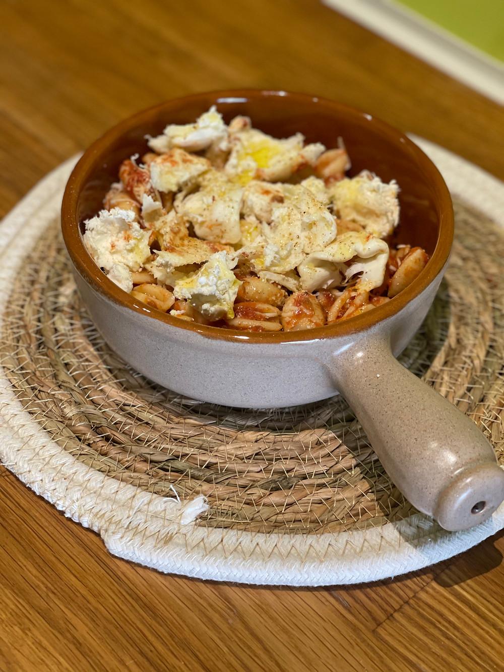 Gnocchetti Sardi sauce tomate et Burratina gratiné