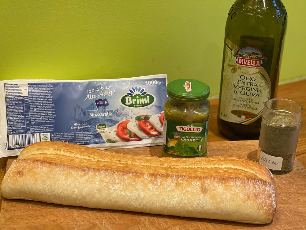 Ingrédients Panini Mozza & Pesto