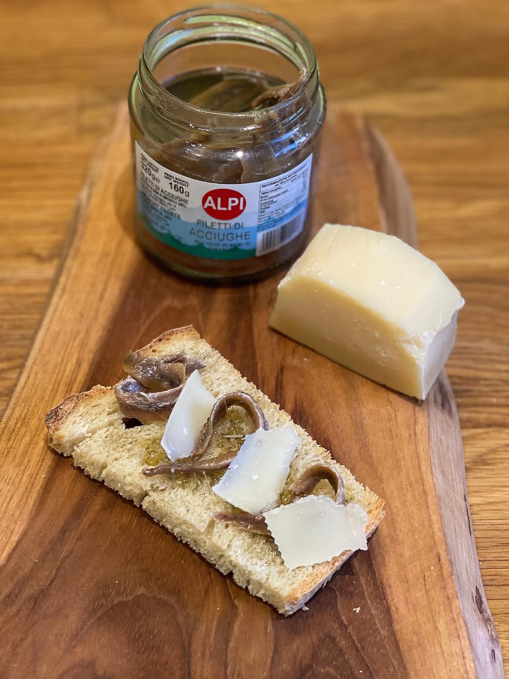 Bruschetta à l'huile d'olive et aux anchois et parmesan by Agridistribution
