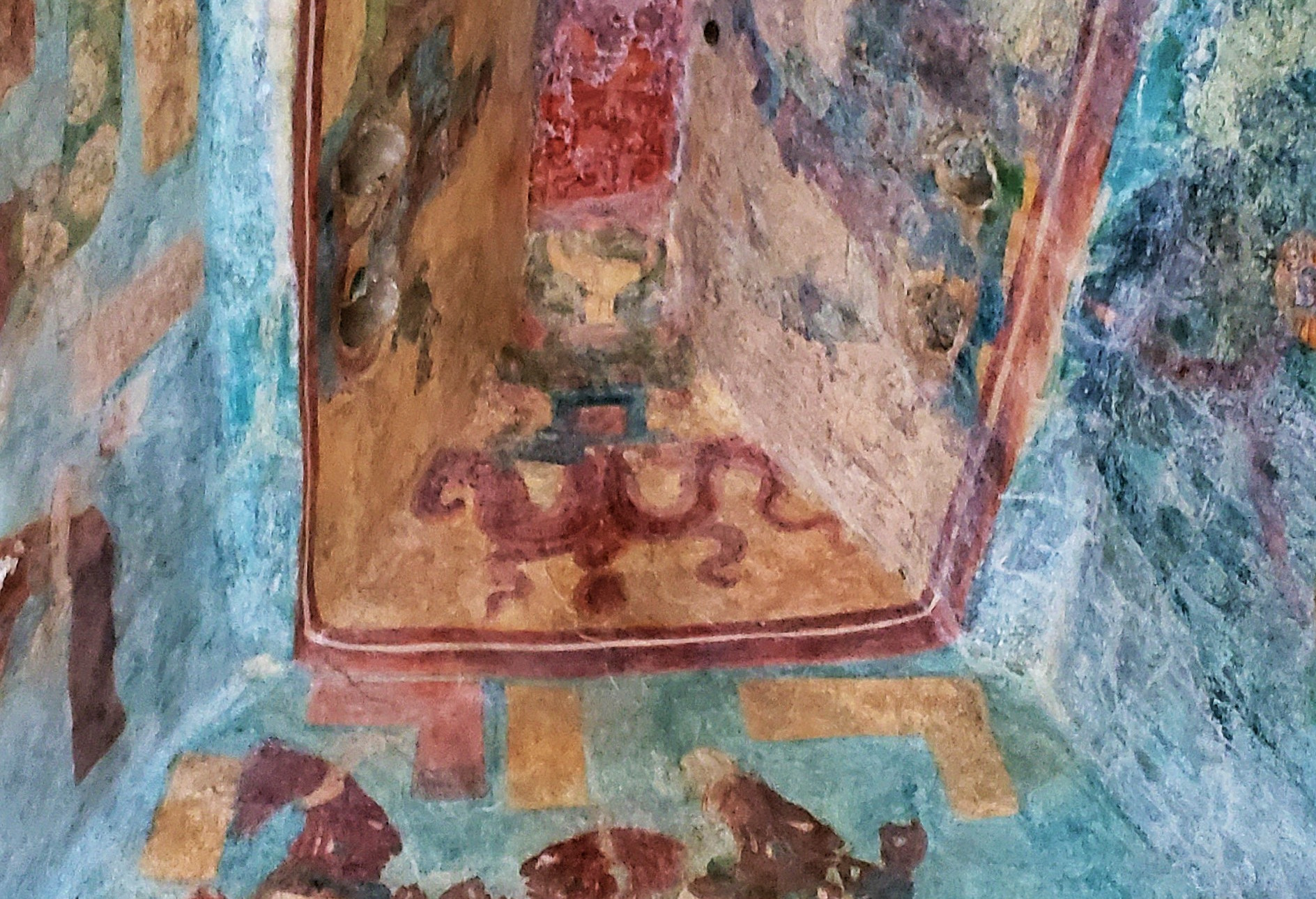 View toward a chamber ceiling in the Temple of Murals
