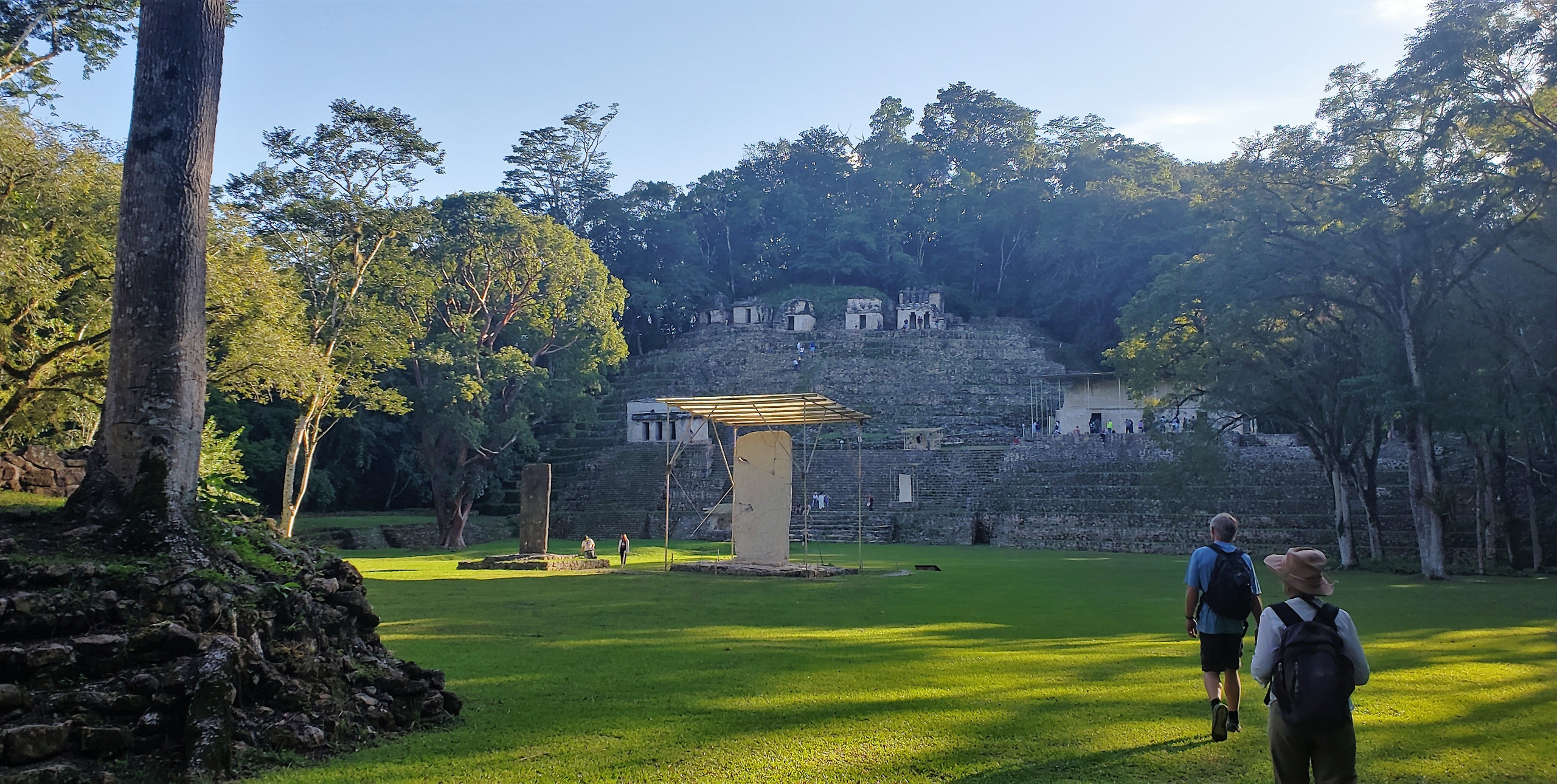 View of the great plaza at Bonampak - the Temple of the Murals is on the left