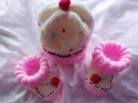 Cupcake, Muffin - Babymütze mit Babyschuhe