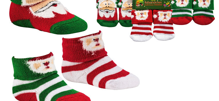 Weihnachts-Erstlingssöckchen, 3er-Bündel