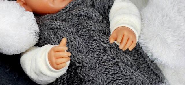 Babyset,gestrickte Oberteil mit Hose ,Zopfmuster - Babygeschenke