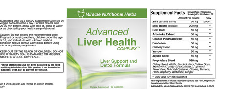 Advanced Liver Health Supplement Label