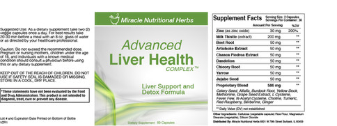 Advanced Liver Health Supplement Label
