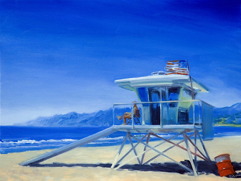 16x12 archival print Pacific Ocean And Lifeguard At Santa Monica Beach