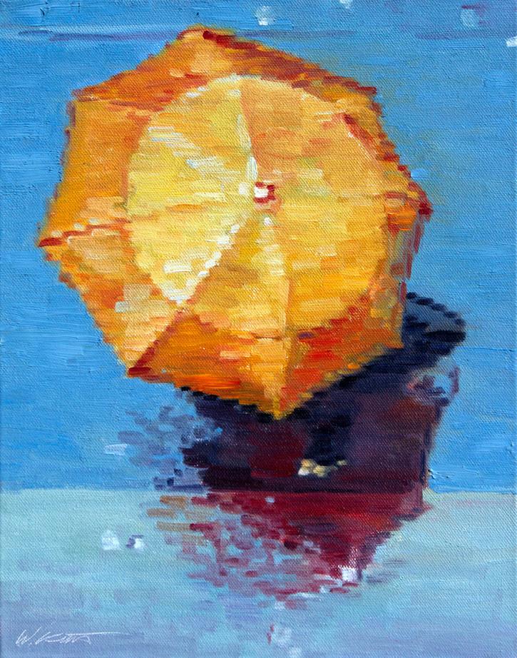 Orange Umbrella in Paris Rain